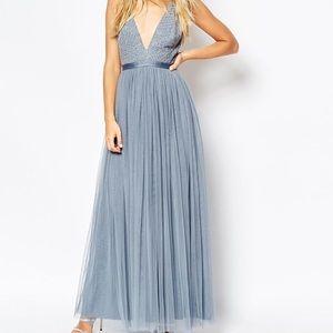 Needles & Thread V Neck Tulle Skirt Maxi Dress